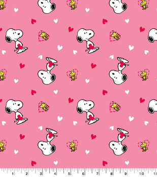 Valentine's Day Snoopy & Woodstock Cotton Fabric
