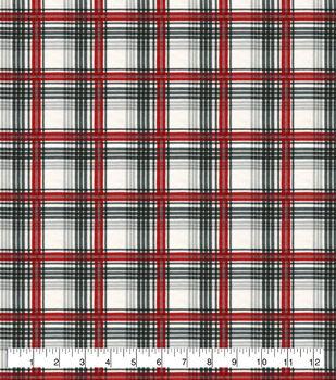 Super Snuggle Flannel Fabric-Gray, Red & Cream Plaid