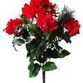 Handmade Holiday Christmas Pinecone, Holly Leaf & Red Hydrangea Bush