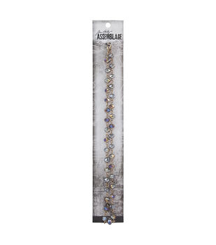 Tim Holtz Assemblage 18'' Gold Chain-Onyx Iridescent Beads