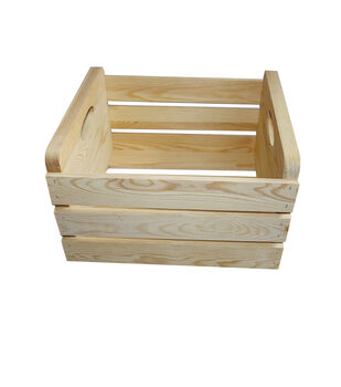 Large Basic Pine Wood Crate with Handles