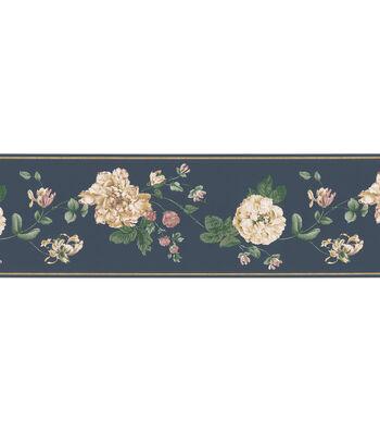Floral Trail Wallpaper Border, Navy
