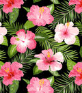 Anti-Pill Fleece Fabric 58\u0022-Bright Tropical Flowers On Black