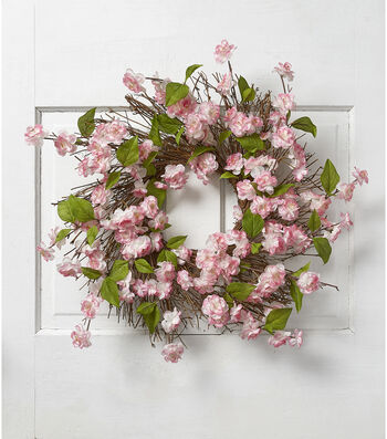 Fresh Picked Spring 22'' Cherry Blossom & Twig Wreath-Pink