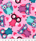 Snuggle Flannel Fabric-Heart Owl Tossed