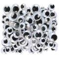 Peel & Stick Wiggle Eyes Assorted 7mm to 15mm 100/Pkg-Black