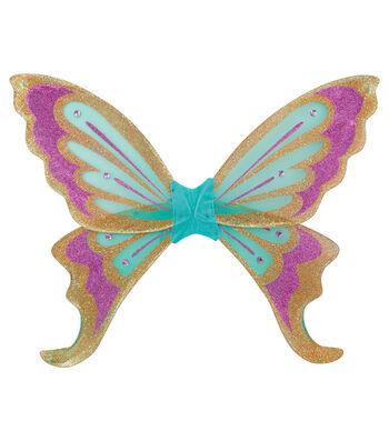 Maker's Halloween 27.5''x34'' Deluxe Glitter Wings-Green & Lavender