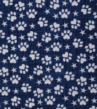 Patriotic Cotton Fabric 43''-Patriotic Paw Prints