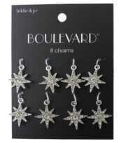 hildie & jo Boulevard 8 Point Star Silver Charms-Clear Crystals, , hi-res
