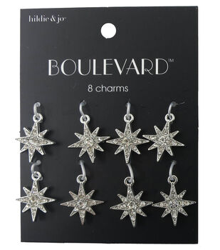 e3b44dd31 hildie & jo Boulevard 8 Point Star Silver Charms-Clear Crystals