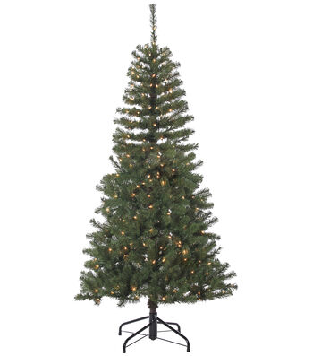 Christmas 6.5' Splendor Tree on Metal Stand with Clear Lights