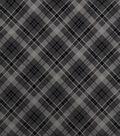 Snuggle Flannel Fabric-Dark Gray Bias Plaid