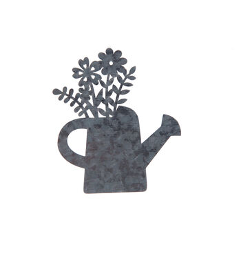 Simply Spring 3.1''x3.6'' Unfinished Metal Watering Can with Flowers