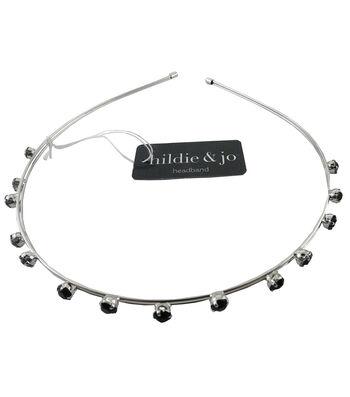 hildie & jo 5.5''x5'' Silver Headband-Black Beads