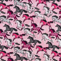 Snuggle Flannel Fabric-Pink Aztec Horses