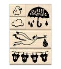 Inkadinkado Baby Shower Mounted Stamp Set