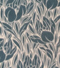 Anti-Pill Fleece Fabric Stamped Slate Blue Floral