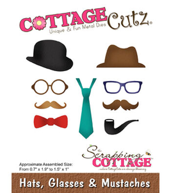 """CottageCutz Die-Hats, Glasses & Mustaches .7"""" To 1.9"""""""