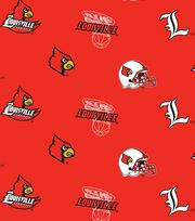 "University of Louisville Cardinals Fleece Fabric 58""-Allover, , hi-res"