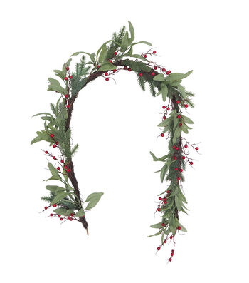 Blooming Holiday Christmas 66'' Olive Leaf & Red Berry Garland