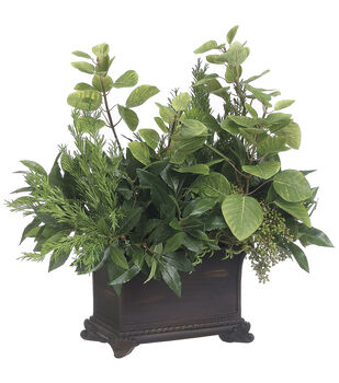 Sweet Bay & Rosemary in Planter 22''-Green