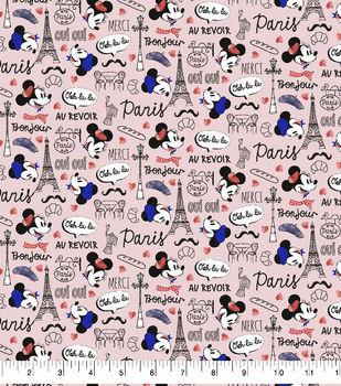 Mickey & Minnie Flannel Fabric-Travel