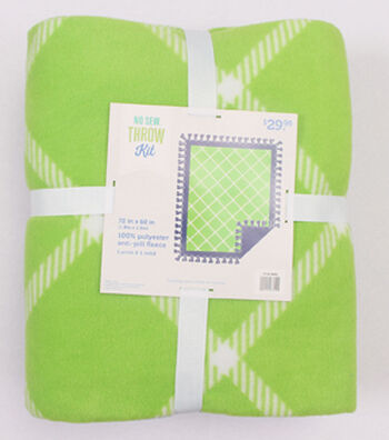"No-Sew Throw Fleece Fabric 72""-Green Windowpane Plaid"