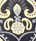 No Sew Fleece Throw 72\u0022-Black Yellow Damask
