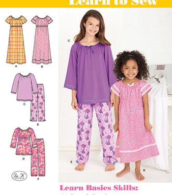 Simplicity Patterns Us1722K5-Simplicity Learn To Sew Child'S And Girl'S Loungewear-14-16-18-20-22