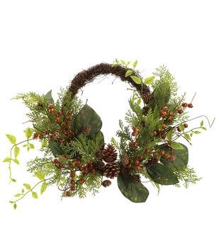 Handmade Holiday Homestead Foliage, Pinecone & Berry Mixed Half Wreath