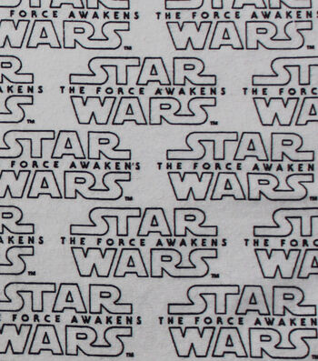 """Star Wars™: The Force Awakens Flannel Fabric 42""""-White Logo"""