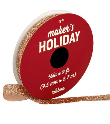 Maker's Holiday Christmas Glitter Ribbon 3/8''x9'-Rose Gold