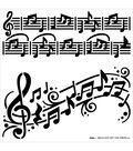 Hot Off the Press 6\u0027\u0027x6\u0027\u0027 Plastic Stencil-Music Notes