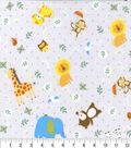 Nursery Flannel Fabric -Noahs Ark Tossed Animals