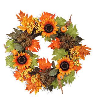 Blooming Autumn 22'' Sunflower, Berry & Pumpkin Wreath