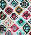 Modern Cotton Fabric -Aztec Diamonds on White