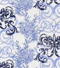 Snuggle Flannel Fabric -Blue Floral Interlock