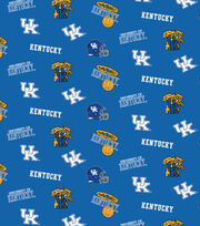 "University of Kentucky Wildcats Cotton Fabric 43""-Blue All Over, , hi-res"