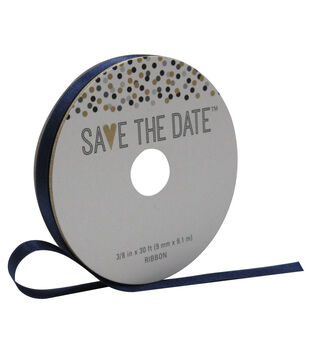 Save the Date 3/8'' X 30' Ribbon-Navy Satin