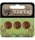 Vintaj Metal Bead Caps 3/Pkg-Acorn 12.5mm
