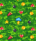 Valentine\u0027s Day Novelty Cotton Fabric-Game Icons on Green