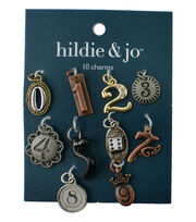 hildie & jo 10 Pack 0 thru 9 Number Charms-Multi, , hi-res