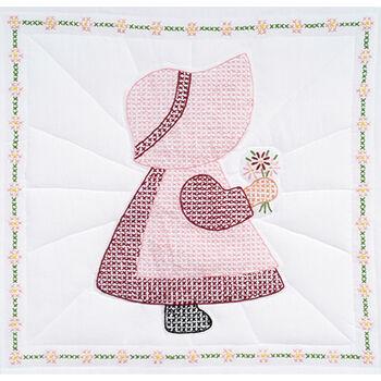 """Stamped White Quilt Blocks 18""""X18"""" 6/Pkg-Sunbonnet Girl"""