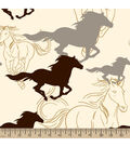 Blizzard Fleece Fabric -Horses Running Sketch Cream