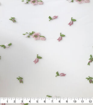 Sew Sweet Mesh Fabric-Pink Floral Clusters