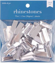 hildie & jo 75 pk Rectangle Plastic Crystal Flat Back Rhinestones, , hi-res