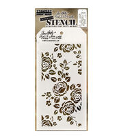 Stampers Anonymous Tim Holtz 4.13''x8.5'' Layering Stencil-Roses, , hi-res