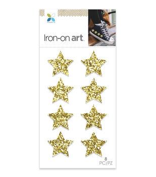 Momenta 8 pk Stars Chunky Glitter Iron-on Art-Gold