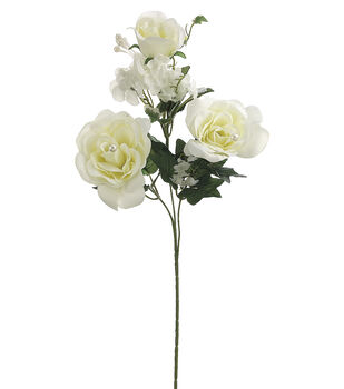 "Bloom Room 25.5"" Rose/Hydrangea Spray x3-Cream"