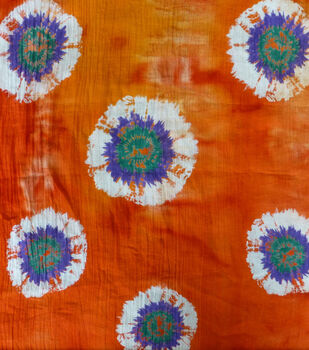Cotton Batik Apparel Fabric-Tie Dye Circle on Textured Orange